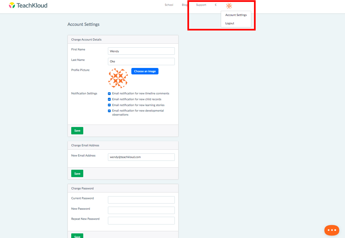 Change my Email, Password or Notification Settings